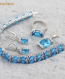 WPAITKYS Silver Color Jewelry Sets blue