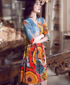 KAKAGOGO HIGH QUALITY VINTAGE PRINT V-NECK SUMMER DRESSES