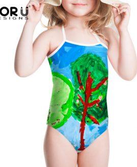 Summer Drawing Style Baby Girls Swimwear