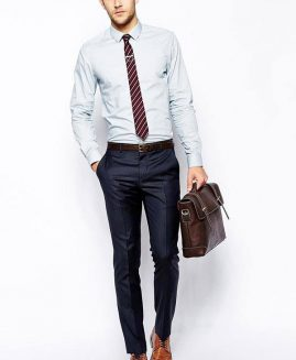 DOBBY STRIPE SLIM FIT SHIRT